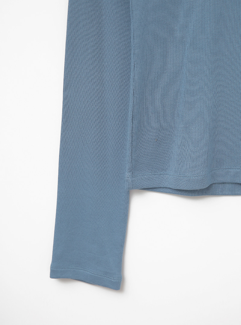 Mock Neck Ribbed Solid Tone T-Shirt