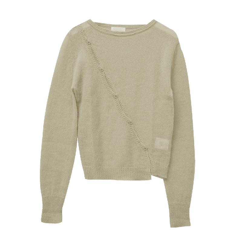 斜排釦造型透膚針織上衣