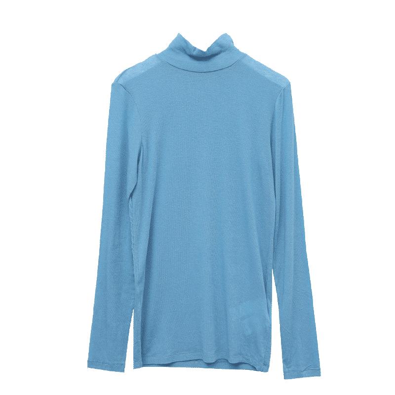 簡單自然高領透膚T恤