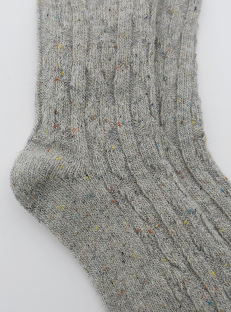 Cable Knit Flecked Socks