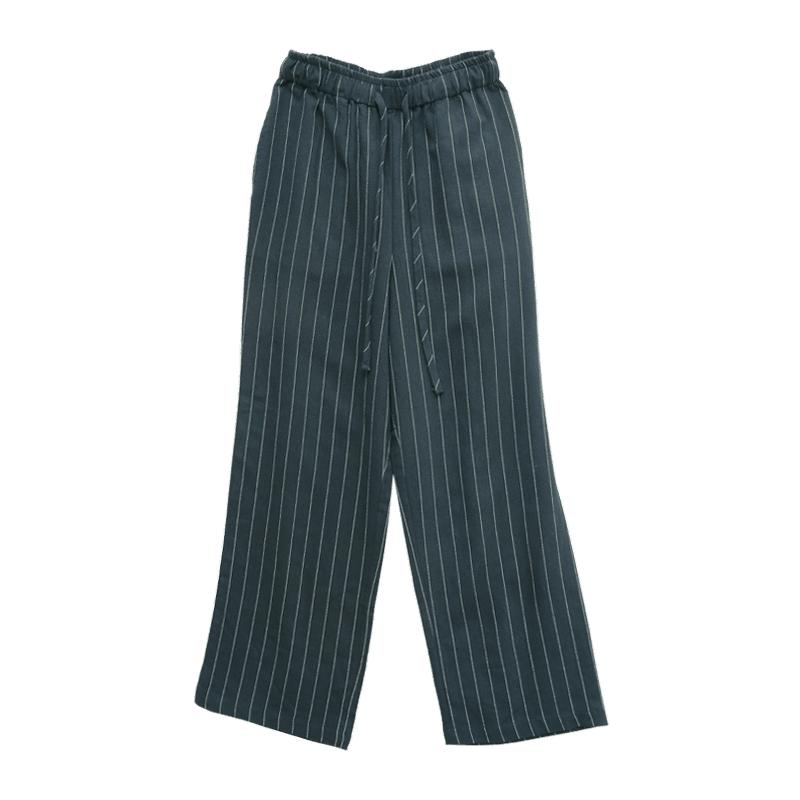 極簡條紋抽繩直筒長褲