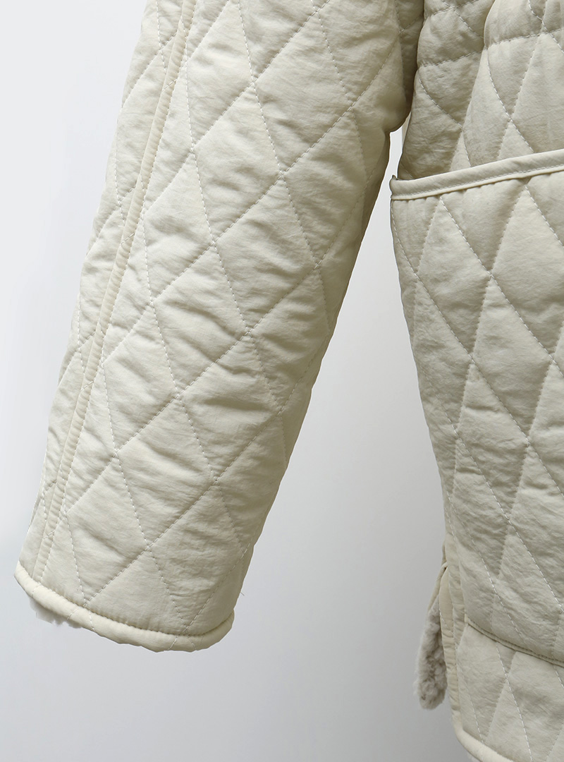 Drawstring Waist Collared Quilted Jacket