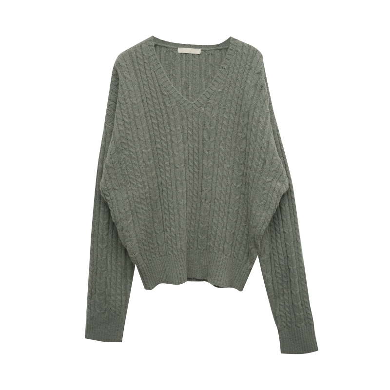 Extended Sleeve V-Neck Cable Knit Sweater