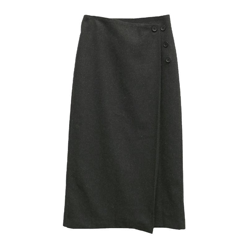 Long Buttoned Wrap Skirt