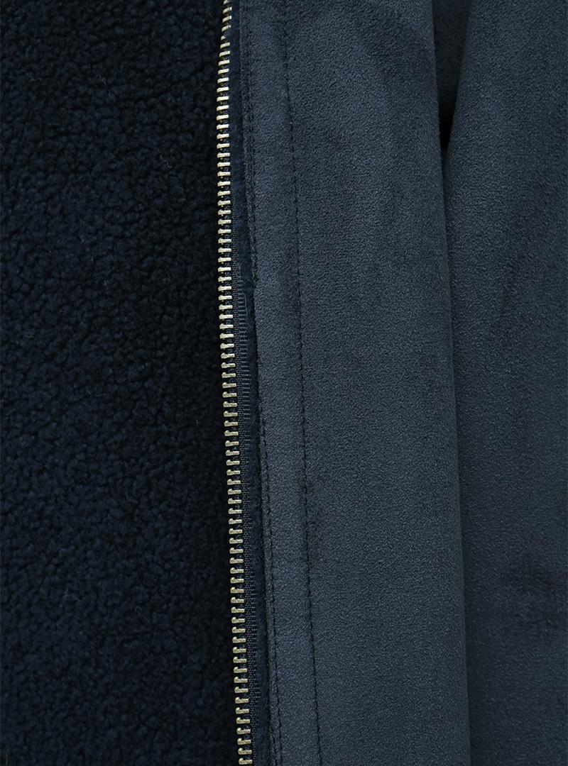 Two-Way Zip Fuzzy Midi Coat
