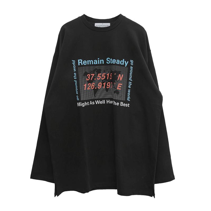 REMAIN STEADY Print Long T-Shirt