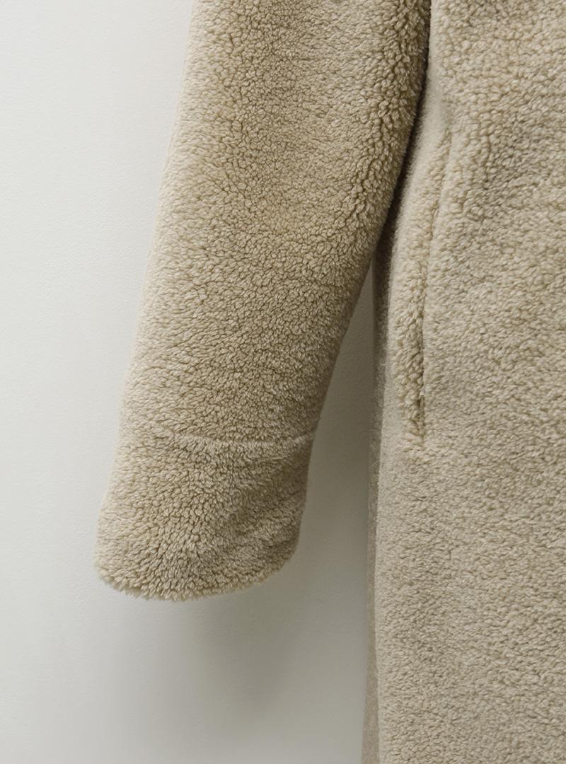 Snap-Up Fuzzy Midi Coat