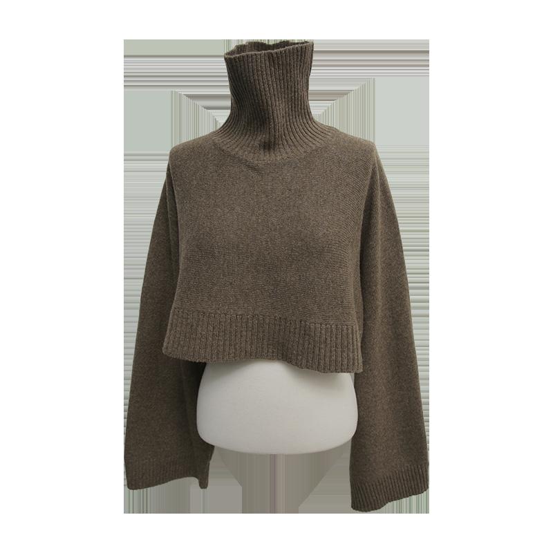 Turtleneck Crop Knit Top