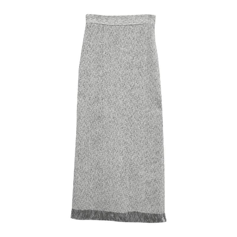 Fringed Hem Herringbone Skirt