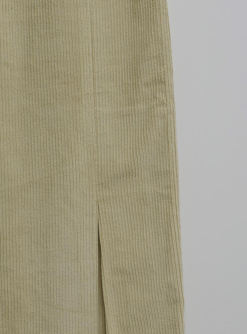 Double Slit Corduroy Midi Skirt