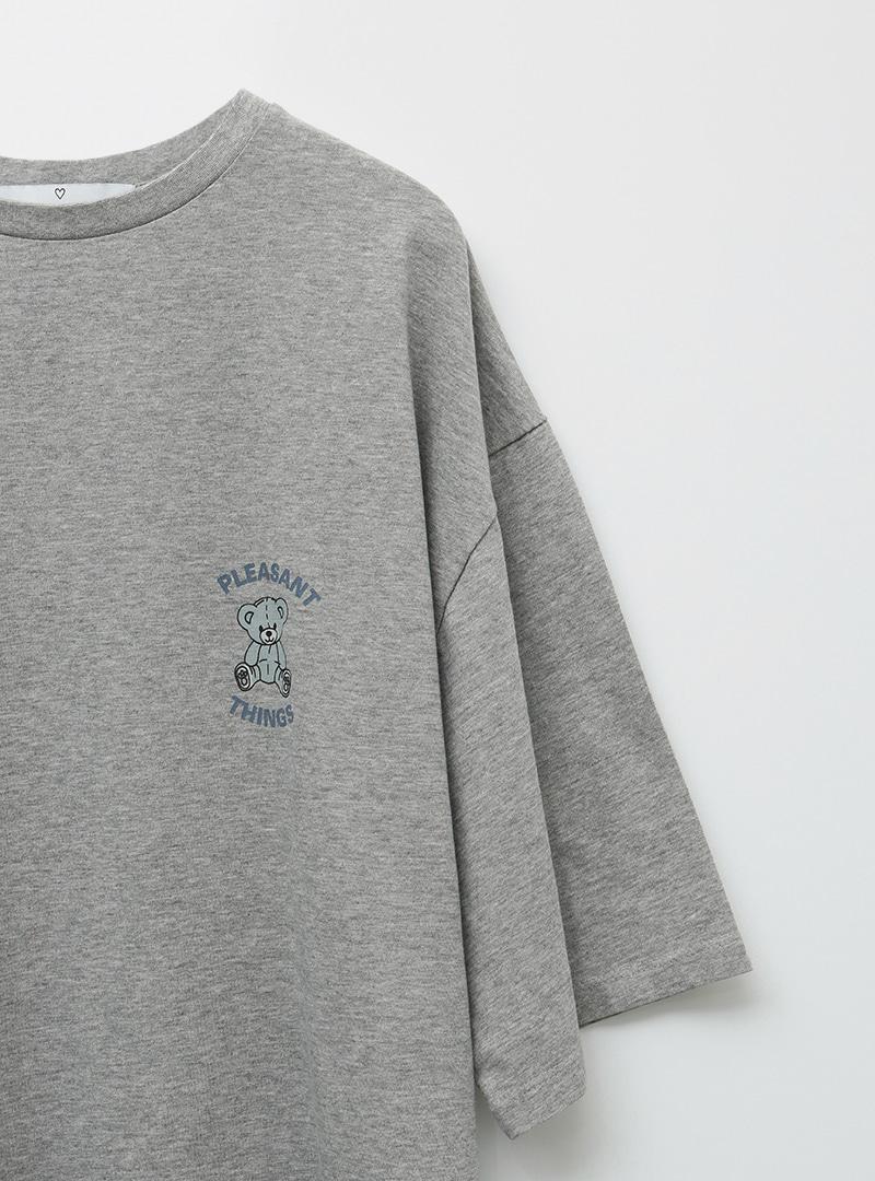 Teddy Bear Print Loose Fit T-Shirt