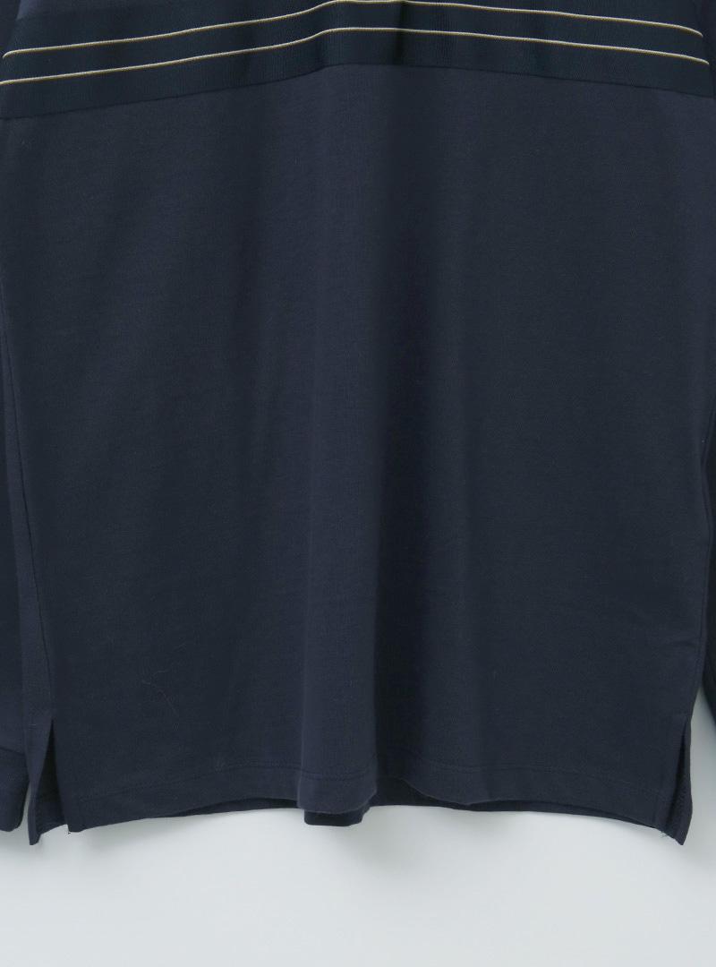 配色線條半排釦翻領長袖T恤