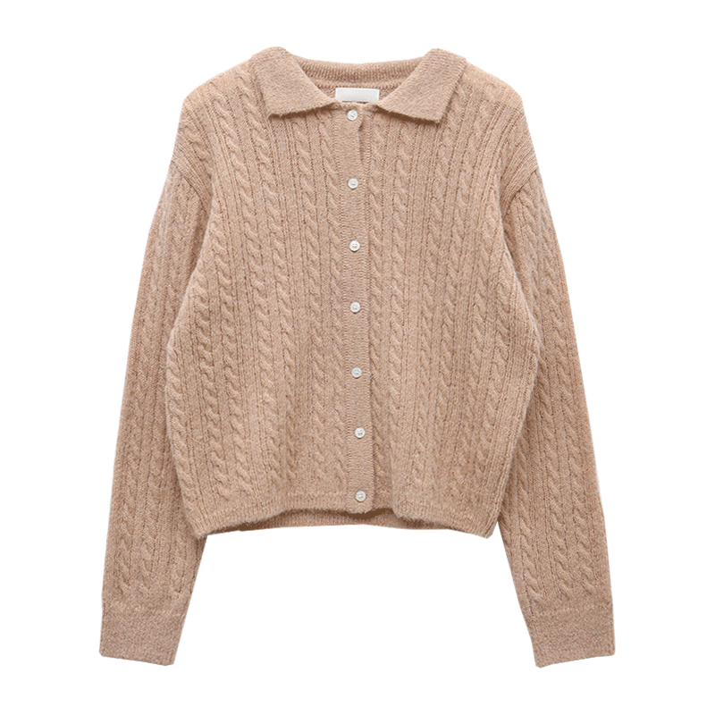 Collared Extended Sleeve Button-Up Cardigan