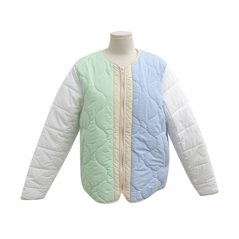 配色拼接拉鍊絎縫外套