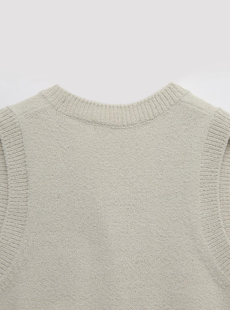Rib Trim Button-Up Knit Vest