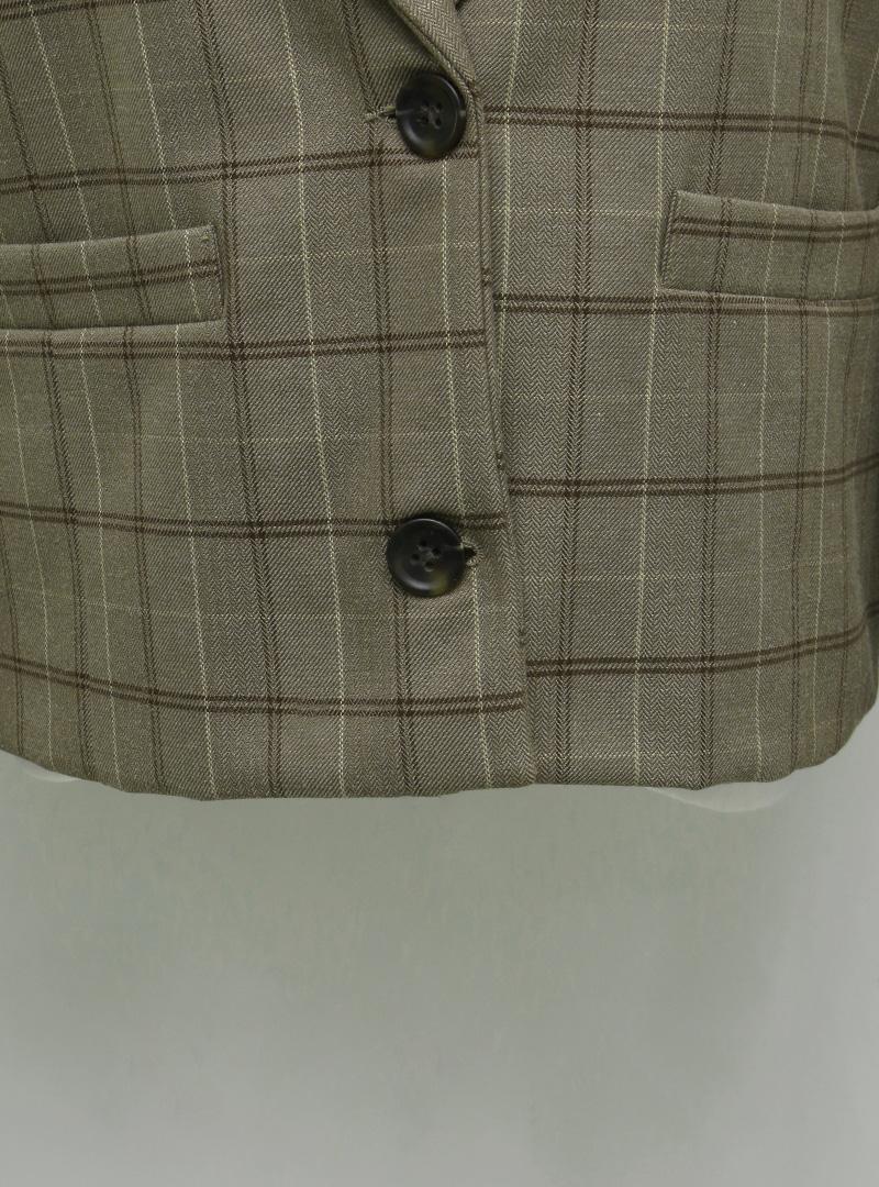 Check Pattern Peak Lapel Blazer
