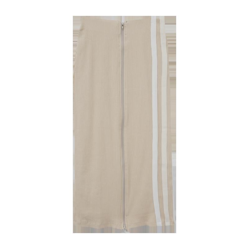 配色線條拉鍊羅紋長裙3月29日開始按購買先後順序進行配送!!