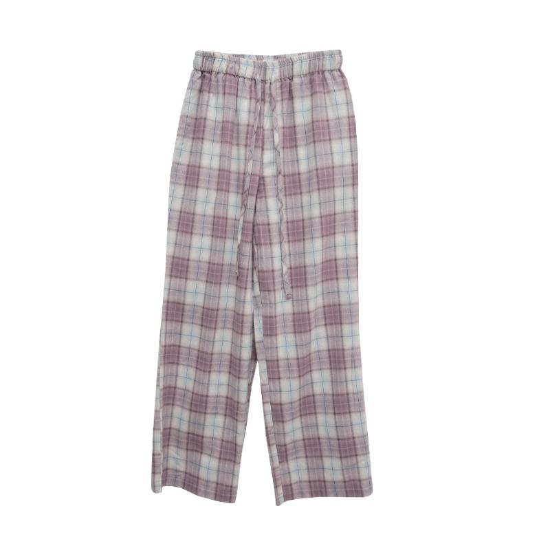 Tie-Waist Tartan Check Pants