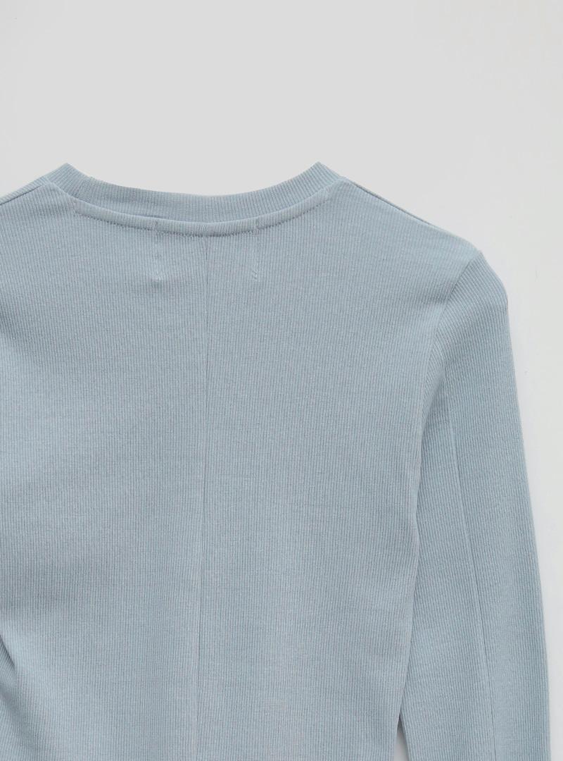 開衩剪裁短版羅紋T恤
