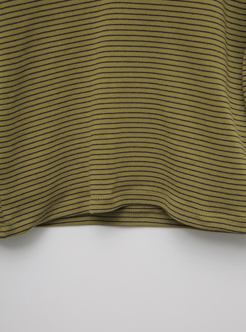 Contrast Split Neck Striped T-Shirt