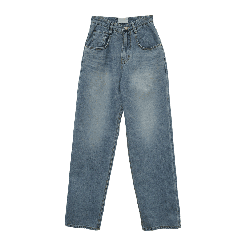 Faded Wash Whiskered Wide-Leg Jeans