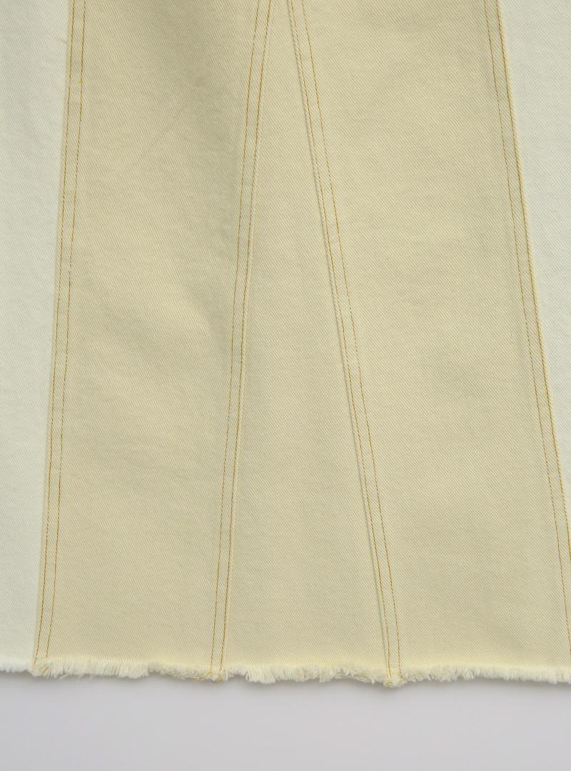 基本款配色車縫開衩襬長裙
