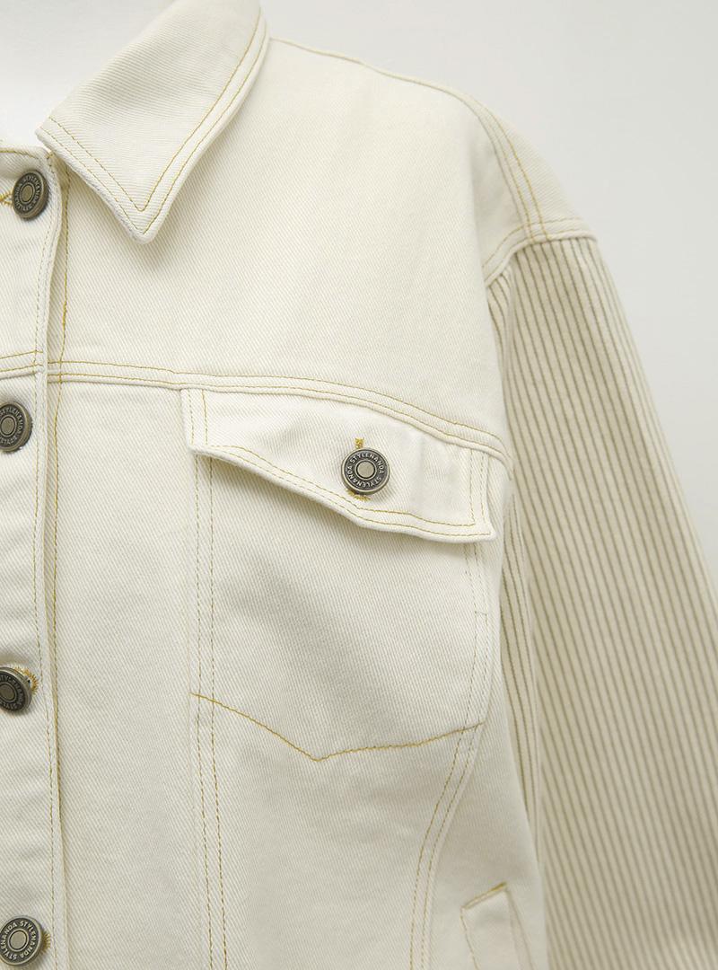 條紋袖拼接排釦翻領外套