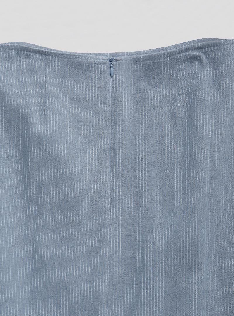 細條紋開衩襬後拉鍊長裙
