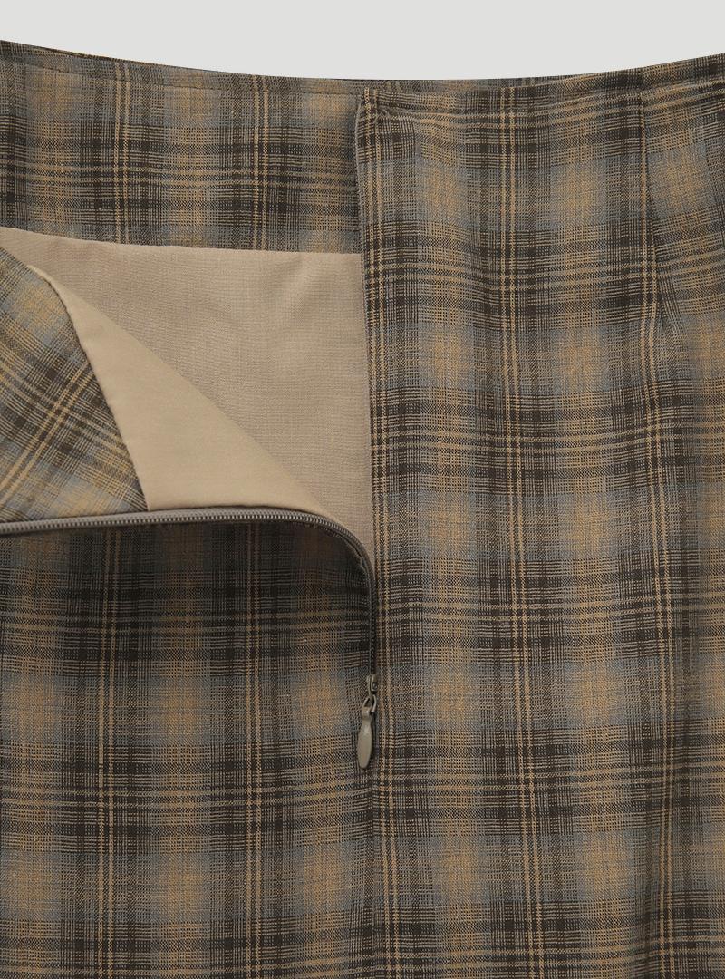 復古格紋開衩襬長裙
