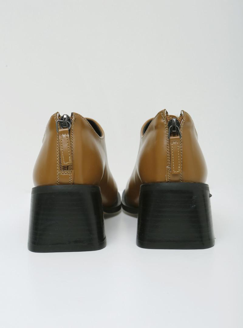 後拉鍊造型仿皮粗跟鞋