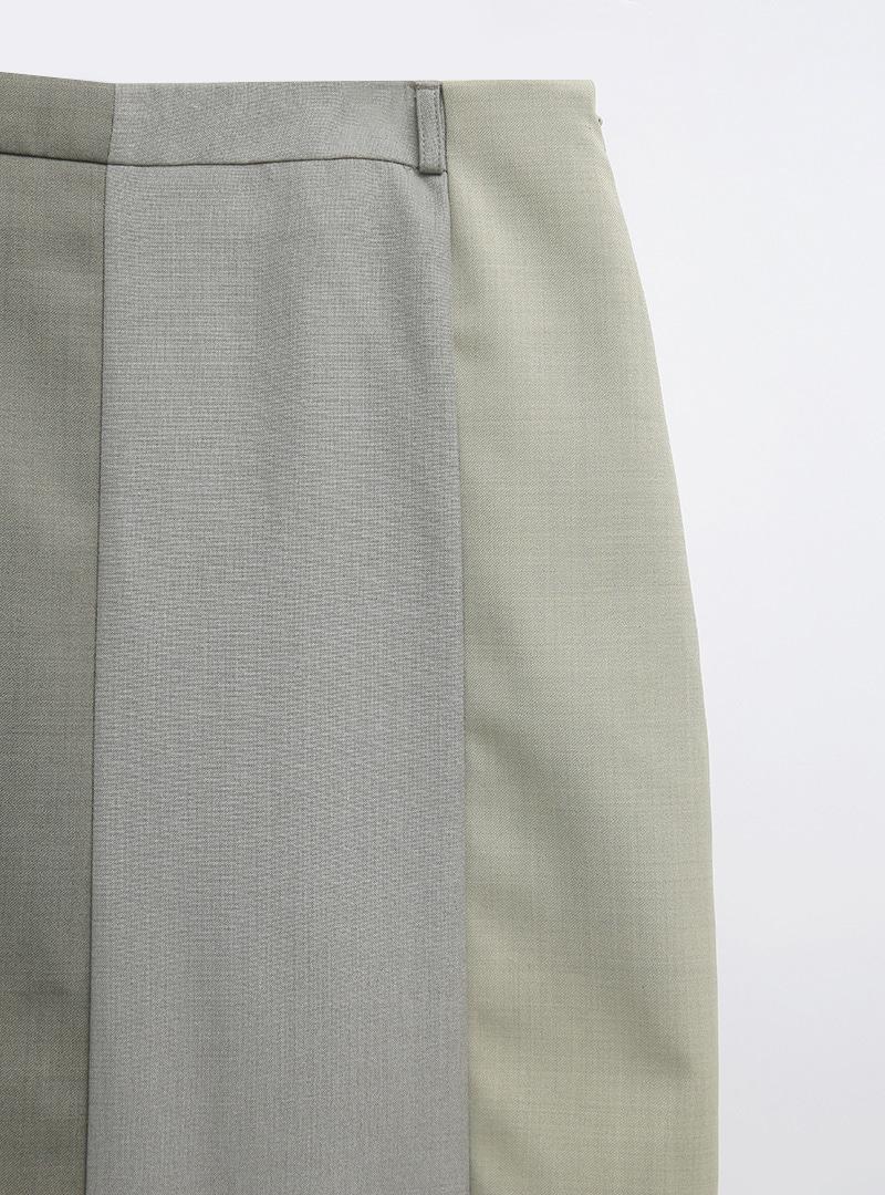 獨特多色拼接高腰長裙