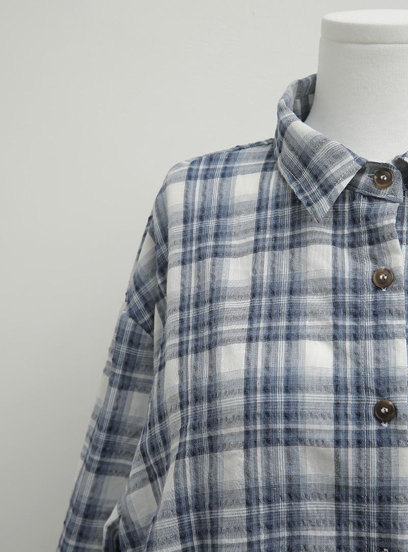 멀티믹스체크 밴딩소매셔츠