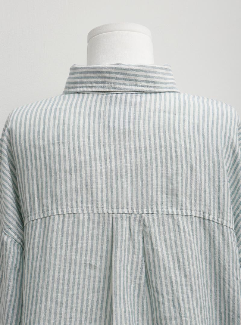 린넨스트라이프 블리치배색셔츠