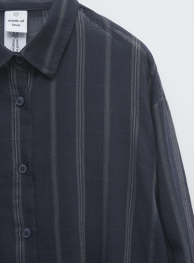 시스루ST배색 코지박시셔츠