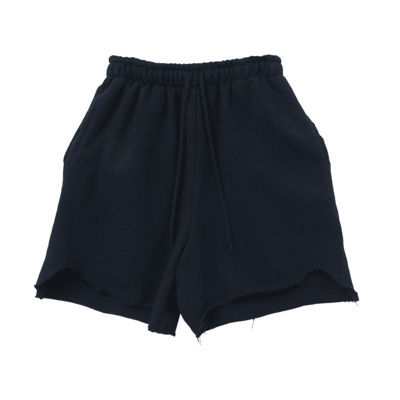 Jagged Hem Cotton Blend Shorts