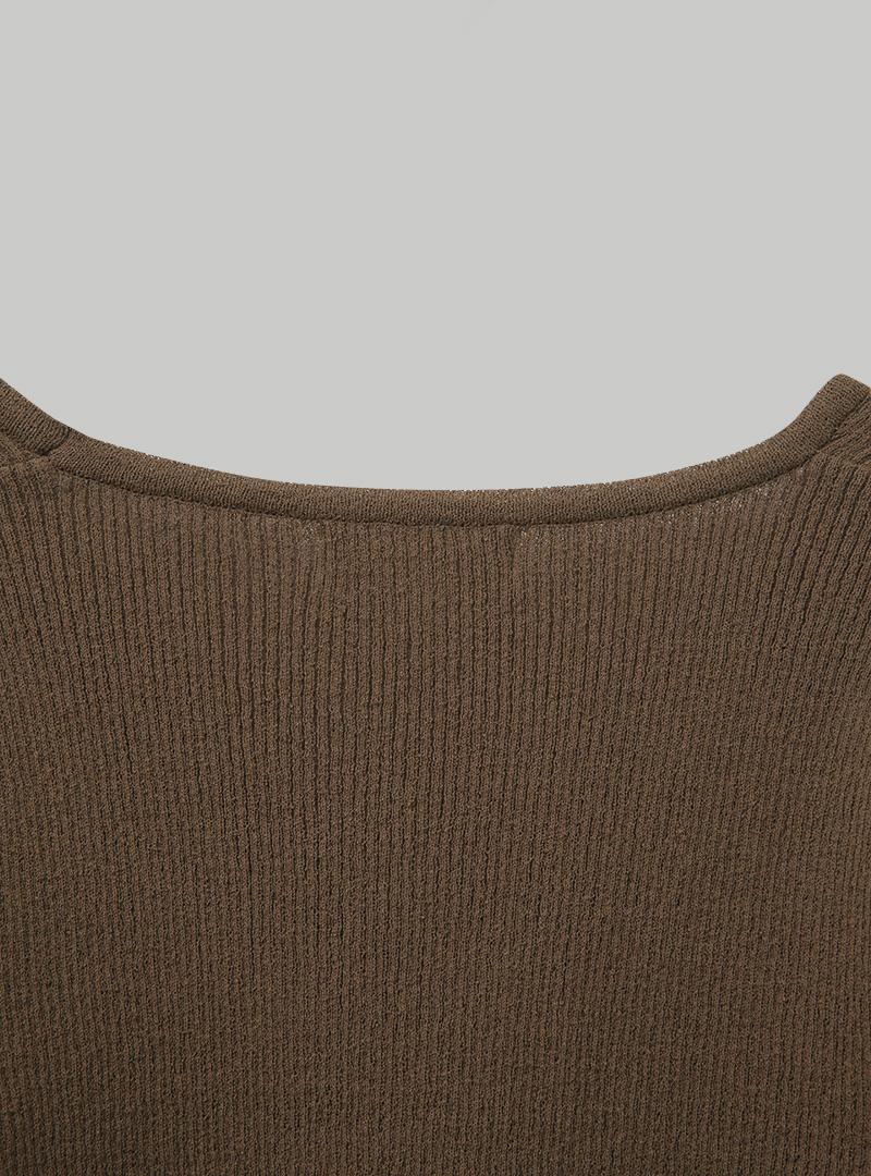 羅紋V領修身針織外套