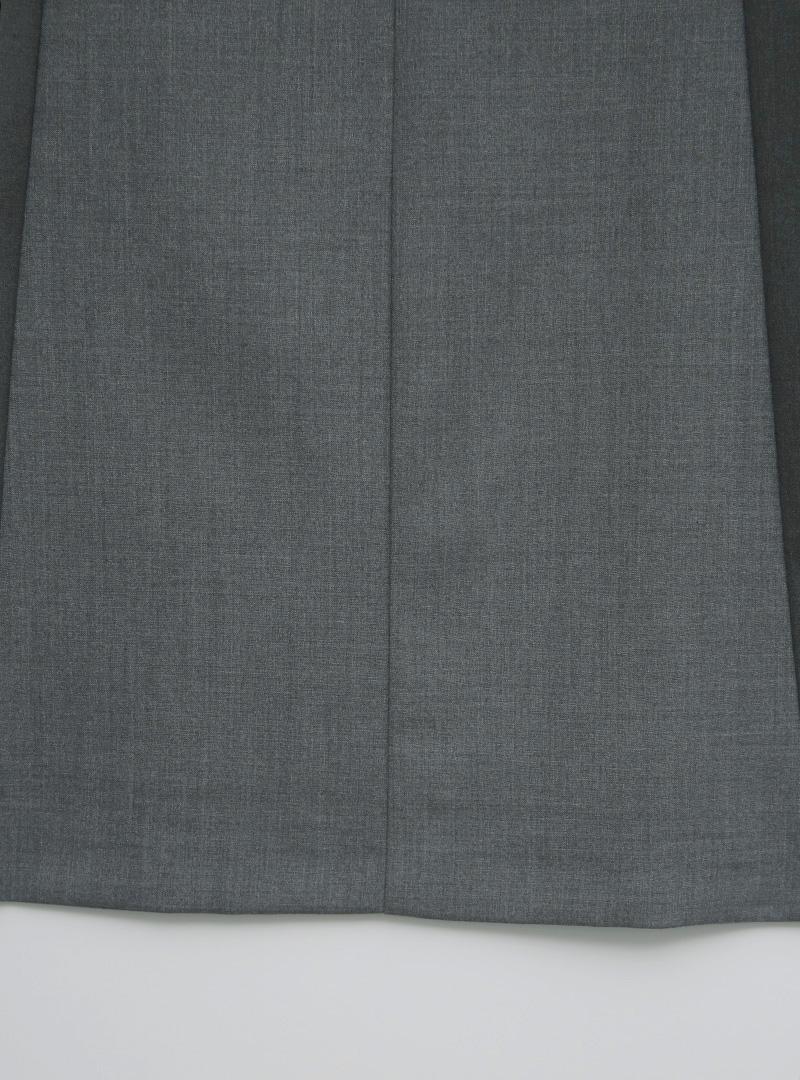 拼接縫線配色側拉鍊短裙