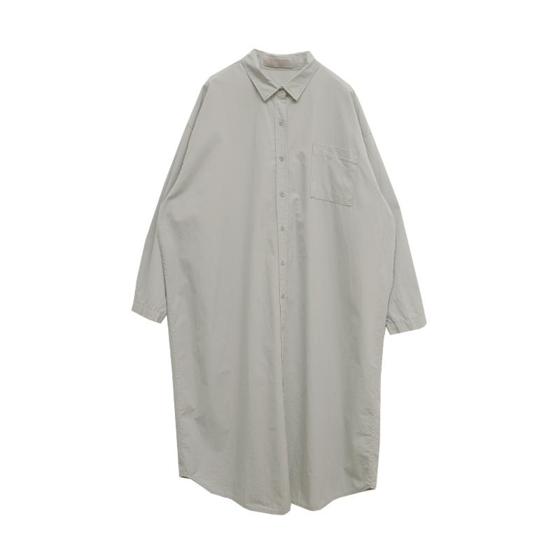 클린박시핏 포켓롱셔츠원피스