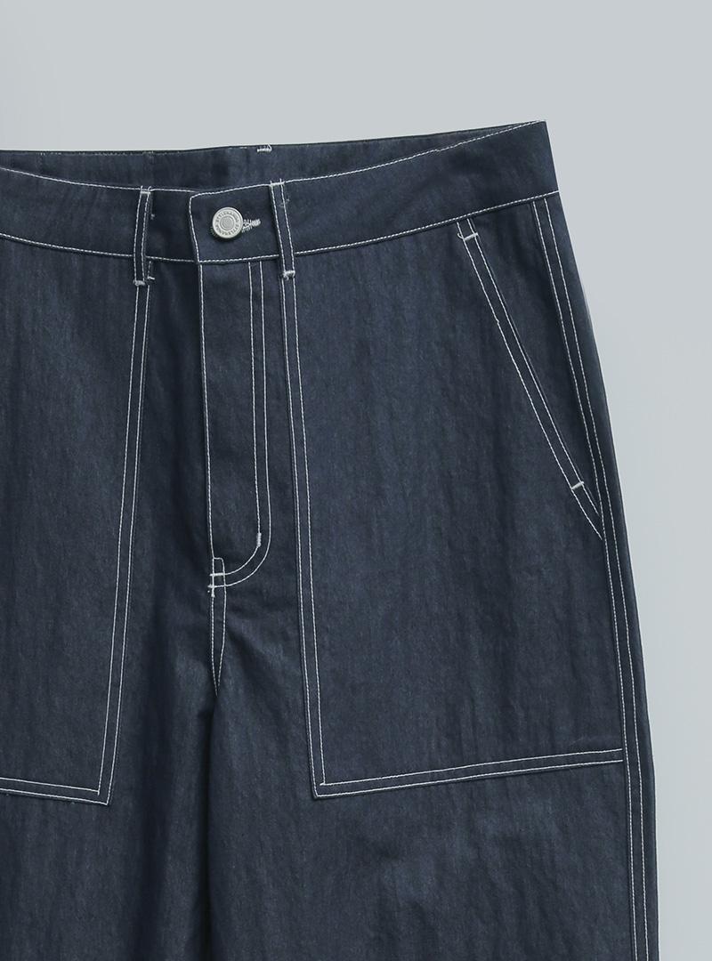 經典風配色車縫混棉直筒褲