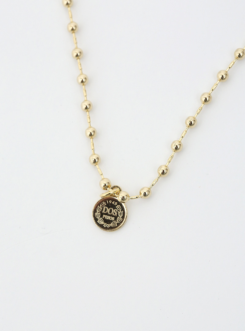 Round Coin Pendant Ball Chain Necklace