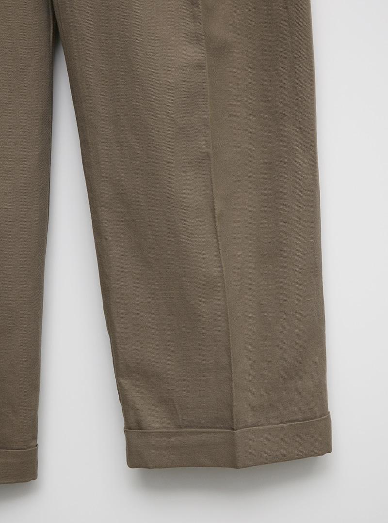 Pleated Wide-Leg Cotton Blend Slacks