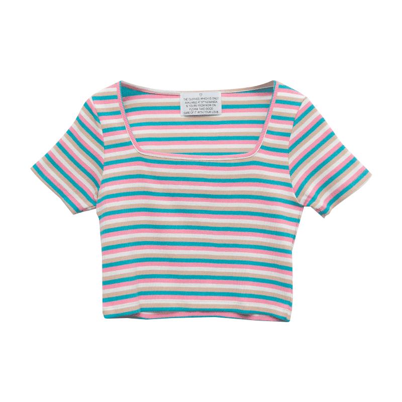 Square Neck Striped Crop T-Shirt