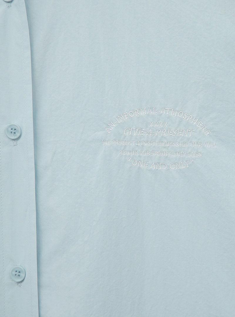 [KKXX] 刺繡點綴寬鬆長版襯衫