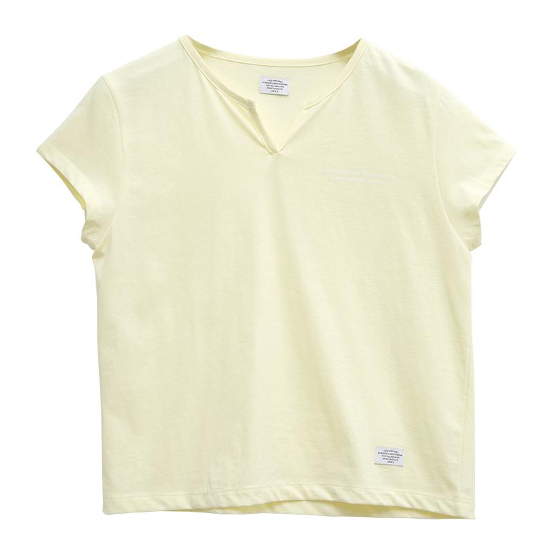 [KKXX] Split Neck Cap Sleeve T-Shirt