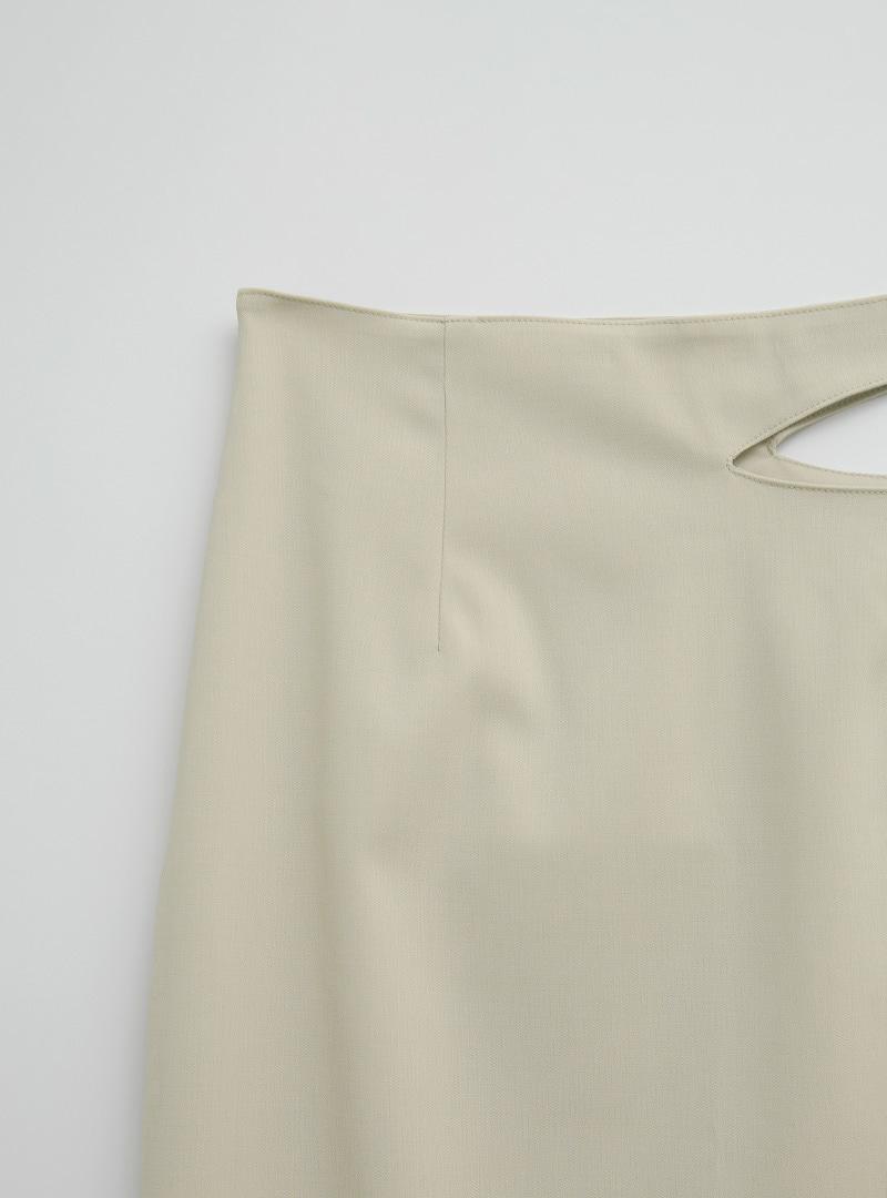 Cutout Side Straight Cut Long Skirt