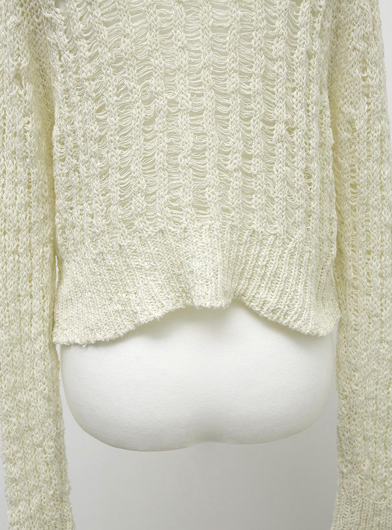 Button-Up Sheer V-Neck Cardigan
