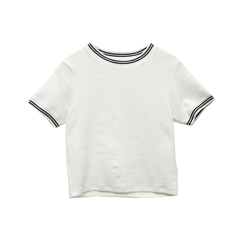Stripe Trim Cropped T-Shirt
