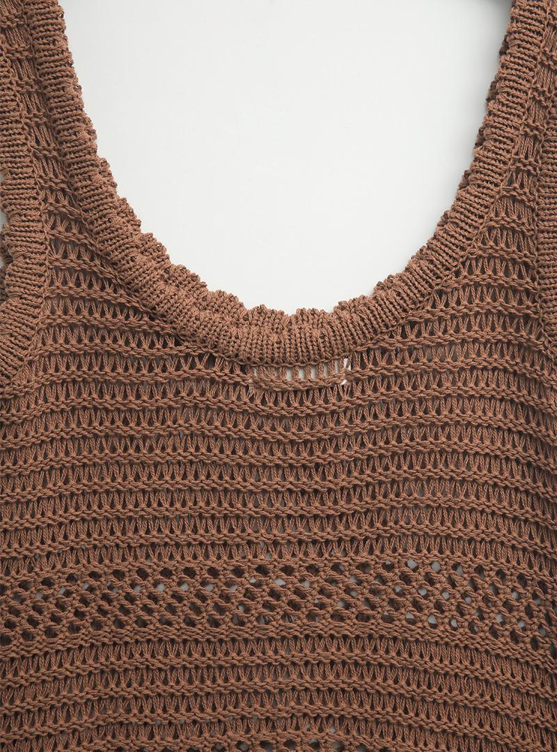 Scoop Neck Knit Sleeveless Top