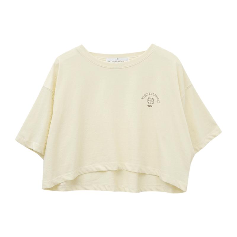 Bear Print Cropped T-Shirt