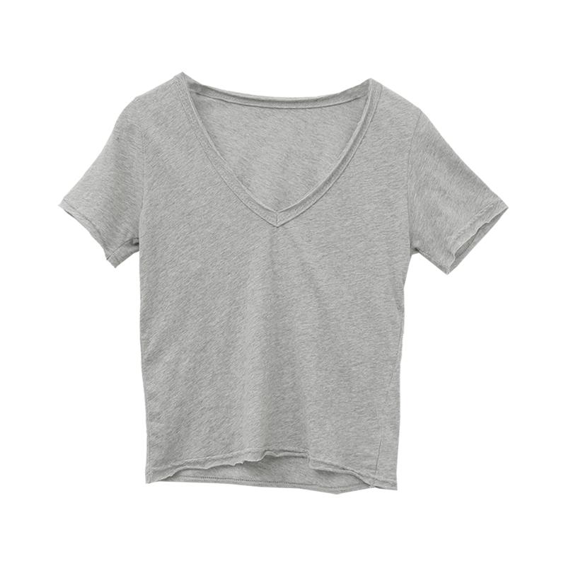 V-Neck Short Sleeve Cropped T-Shirt